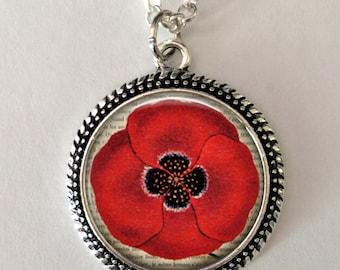 Poppy Flower Necklace, Red poppy, poppy necklace pendant, art pendant, poppy jewelry, flower jewelry