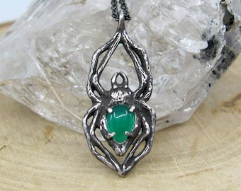 Arachne Necklace, Green Onyx