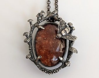 Mushrooms & Honey Bee with Lodolite Necklace