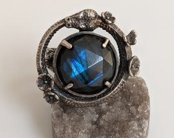 Floral Ouroboros Labradorite Ring made to order