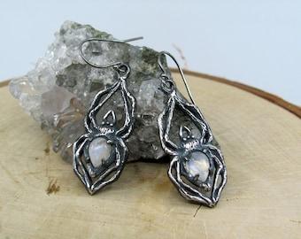 Arachne Earrings, Moonstone