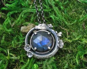 Floral Ouroboros Labradorite Necklace