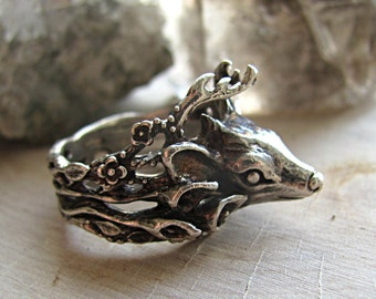 Woodland Deer Ring Sterling Silver, Flowers, Forest, Calla Lily Ring, Woodland Creature, Fawn Ring, Doe Ring, Spirit Animal, Totem Jewelry