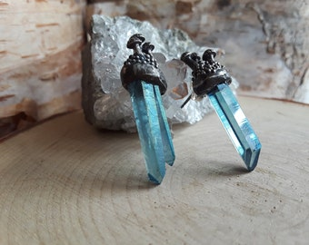 Mushroom Patch & Aqua Aura Quartz Point stud earings, Sterling silver, No. 7