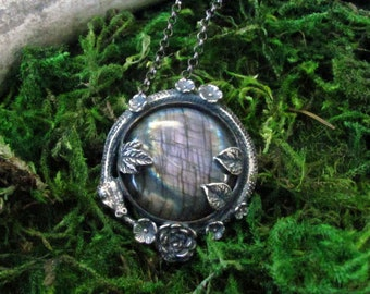 Floral Ouroboros with Purple  Labradorite Necklace