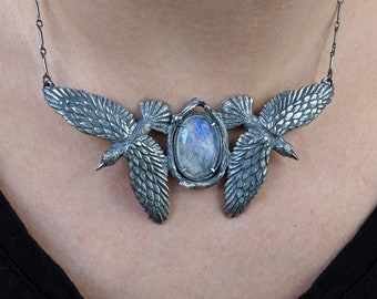 Odin's Ravens # 3 ~ sterling silver necklace with rose cut moonstone