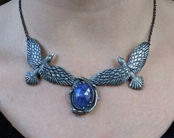Odin's Ravens #1 ~ sterling silver necklace with tanzanite