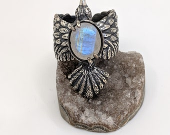 Odin's Ravens sterling silver ring with moonstone, size 8