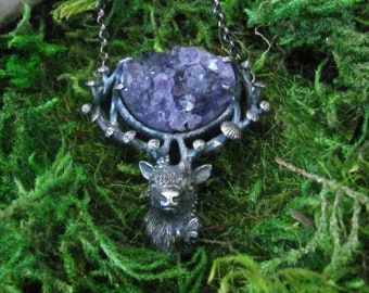Fungi & Fauna Spirt Deer No. 42 Amethyst Druzy Necklace