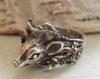 Woodland Deer Ring Sterling Silver, made in your size.