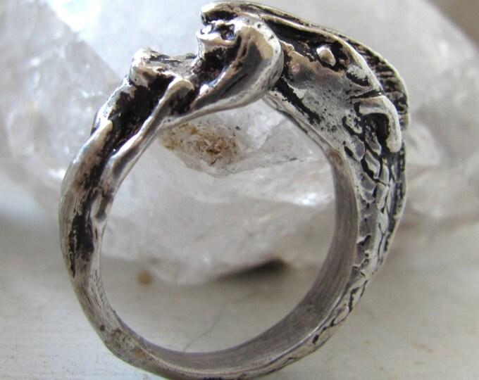 Featured listing image: Daenerys Targaryen & Drogon sterling silver ring