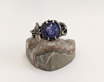 Luna Moth and tiny slugs! ~ sterling silver ring with Tanzanite size 9