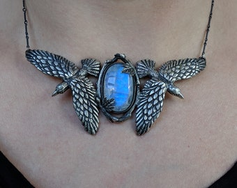 Odin's Ravens # 4 ~ sterling silver necklace with rose cut moonstone
