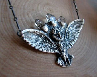 Owl Spirit Necklace - sterling silver hand carved and cast owl with three herkimer diamonds. MADE TO ORDER