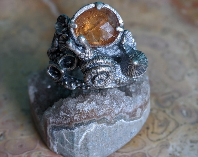 Featured listing image: Mystical Forest Patch Snail ring with mushroom & flowers, orange garnet, size 8
