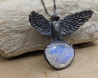 Odin's Ravens #6 ~ sterling silver necklace with moonstone