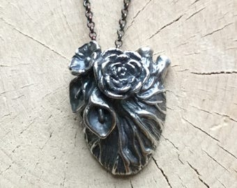 Anatomical Sacred Heart, Sterling Silver Hand Carved and Cast Necklace, Handmade Jewelry Original Design