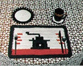 Coffee Grinder Placemat Set with Hot Mats and Coasters Crochet Pattern