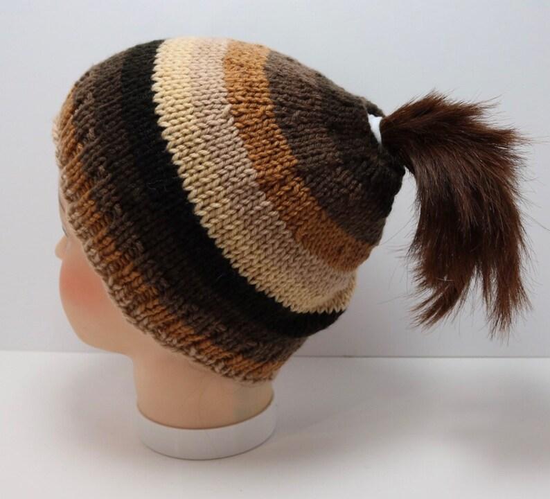 Brown Striped Messy Bun Beanie