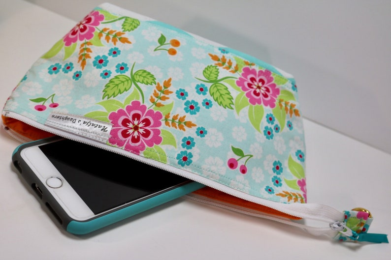 Pink and Green Flowers and Chevrons Medium Zipper Pouch Teal
