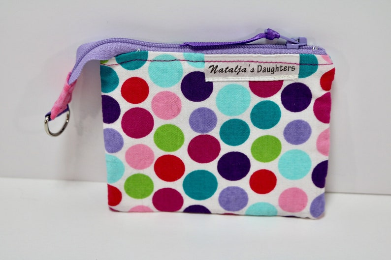 Pink Blue and Green Coin Pouch