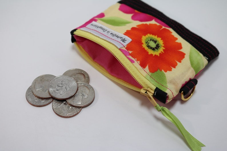Yellow with Pink and Orange Flowers Coin Pouch