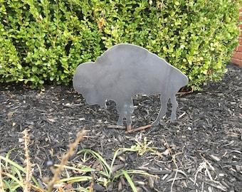Industial Lawn Art / Steel Buffalo Lawn Stake / Garden Art / Buffalo / Metal