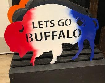 Jumbo Steel Buffalo Lawn Ornament / Let's Go Buffalo / Garden Decoration / Garden Decor / Metal  Art / Buffalo Bills