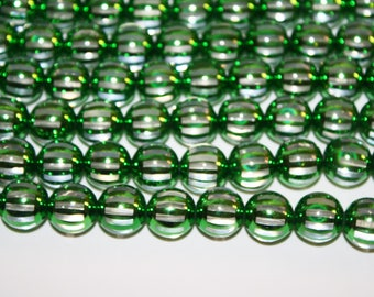 Clear With Green Strips, Acrylic Round Beads - 14mm - 15 Piece - D258