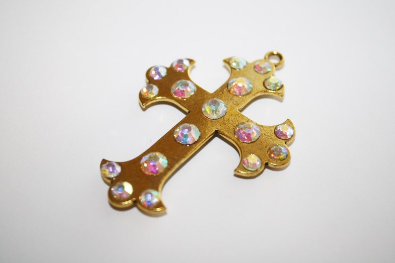 Large Gold Cross Pendant With AB Rhinestones 45x62mm 2ct #605