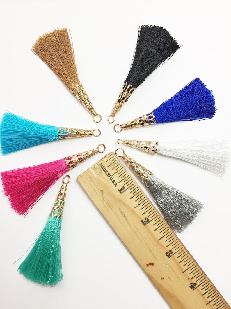 Charms 2.5 inches Tassel Pendant Key Chain Tassel Gold Cap #739 Earring Tassel 3pcs Silk Tassels