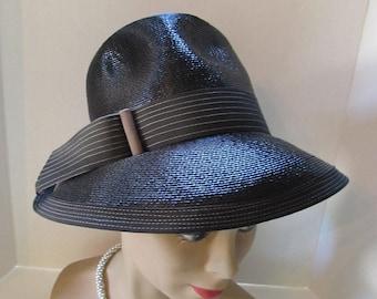 SALE! Mod Style Hat 1970 Style Hat Black Woven Hat Latte Tone Ribbon High Top Hat Mid Century Hat Vintage Hat Ladies Fashions