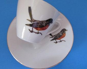 Vintage China Demitasse Cups Saucers Bird Design Bavaria Schumann Arzebero Germany Vintage Table Ware Tea Time