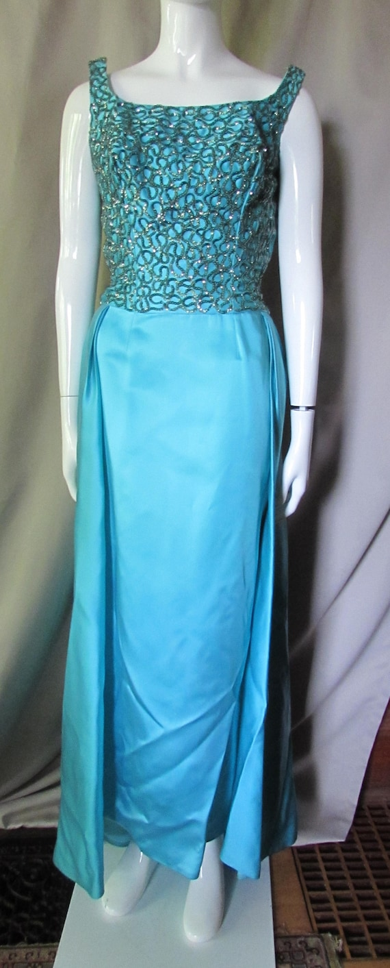Mike Benet Formal Vintage Evening Gown Turquoise Satin Green | Etsy