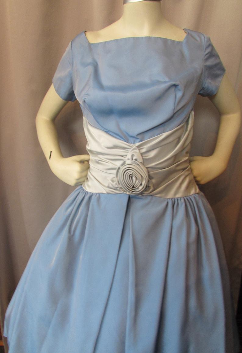 95136680f3e Prom Dress Cocktail Dress 1950 Era Baby Blue Taffeta Icy Blue