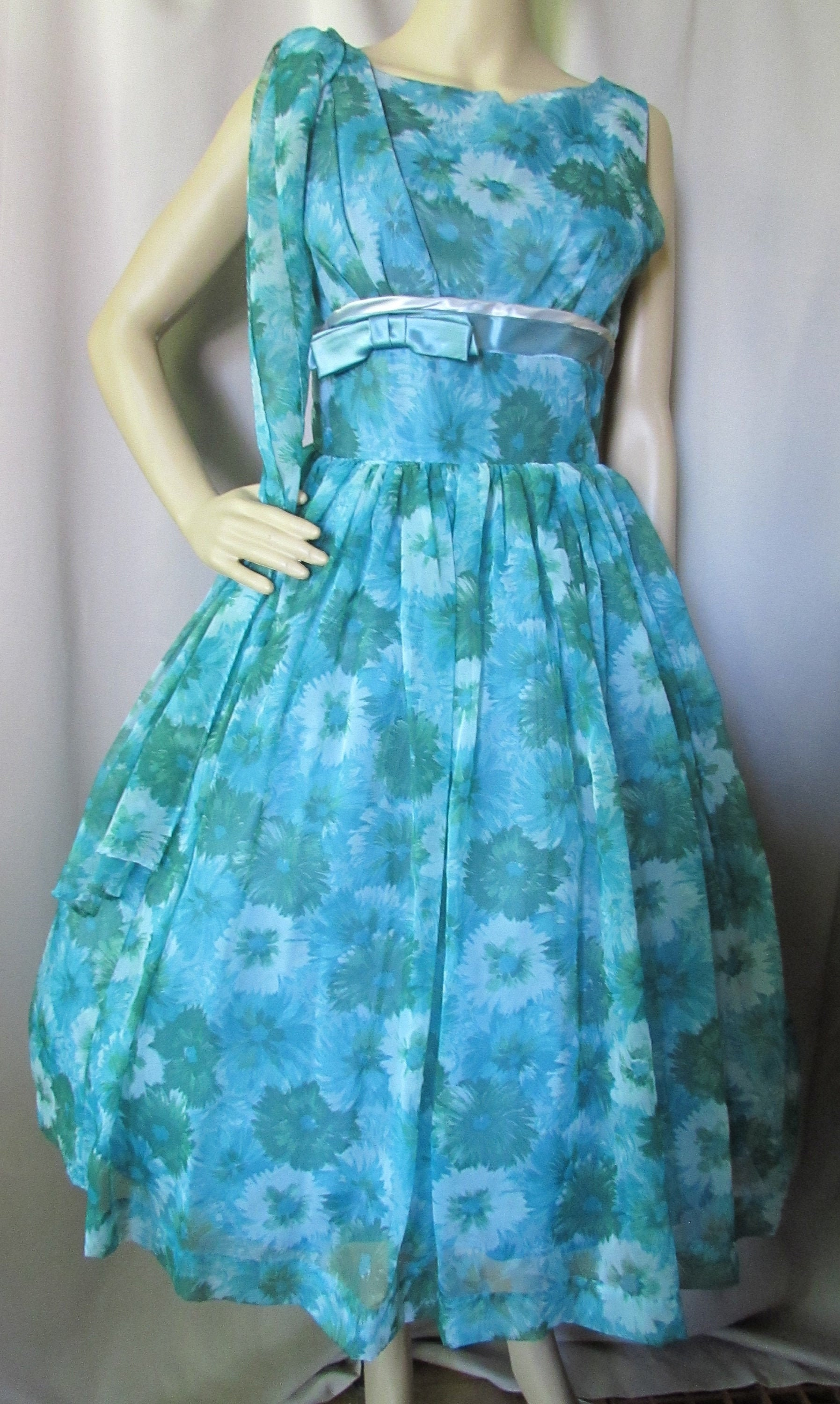 Vintage Scarf Styles -1920s to 1960s 1960 Era Prom Dress Cocktail Chiffon Floral Teal Turquoise Green Full Skirt Fitted Bodice Satin Cummerbund Vintage Clothing Size 13 $0.00 AT vintagedancer.com
