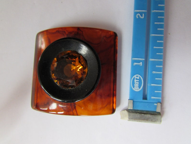 Modern Brooch Faux Tortoise Shell Root Beer Faceted Stone Convex Square Vintage Jewelry Acrylic Pin