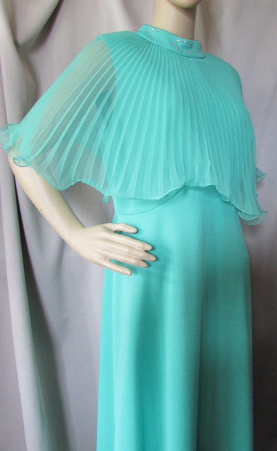 vintage 1960s mint green gown with pleated ruffles
