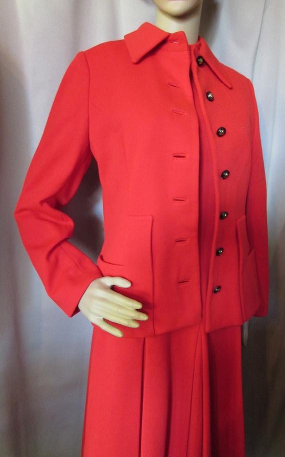Cherry Red Knit Matched Set Jacket Dress Pleat Ski