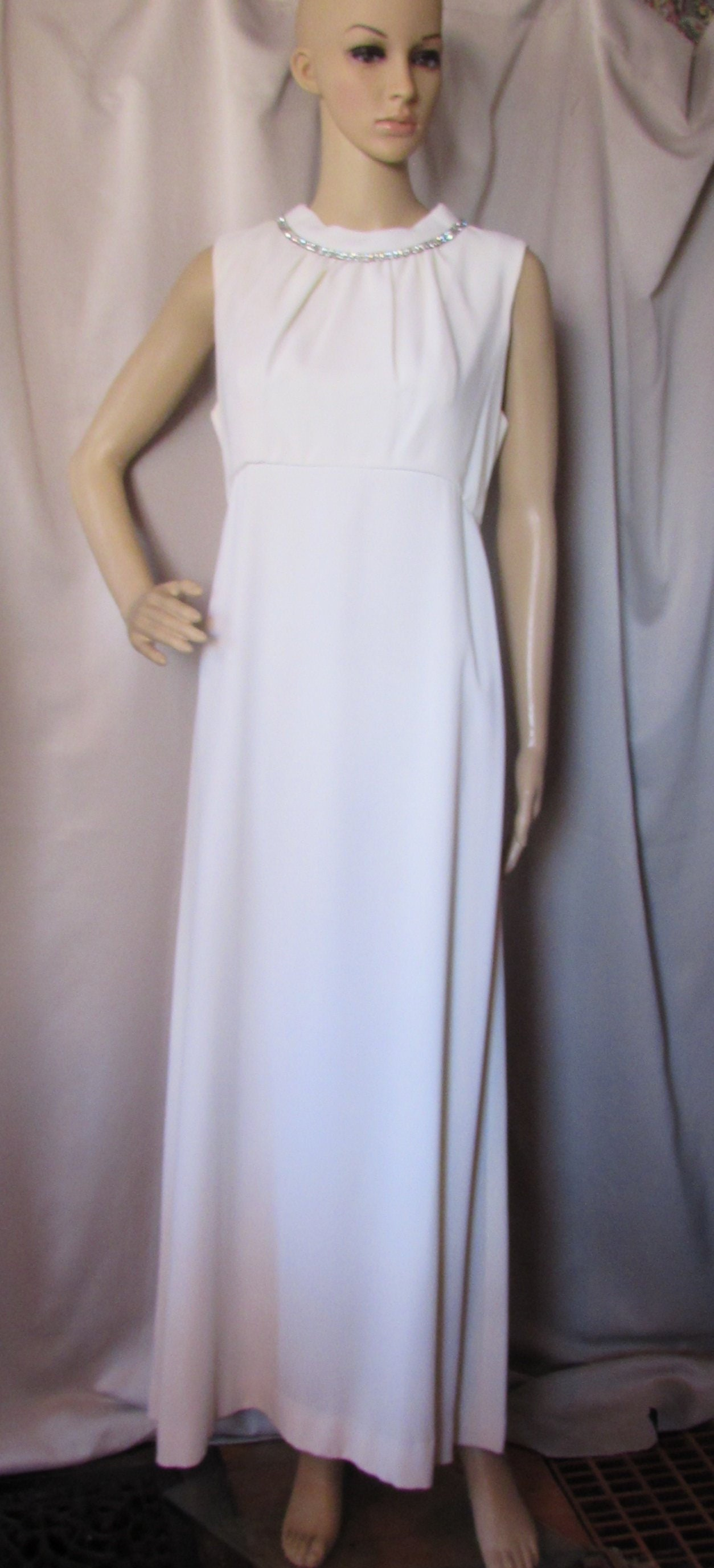 4c5a516c1afe6 Long Evening Gown Winter White Crepe Grecian Style Rhinestone | Etsy