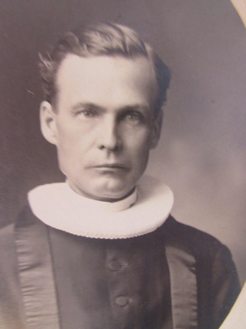 Antique Photograph Clergy Man Church of Norway Ruff Collar Sepia Tone Black Cossack Stoughton WI Vintage Photo