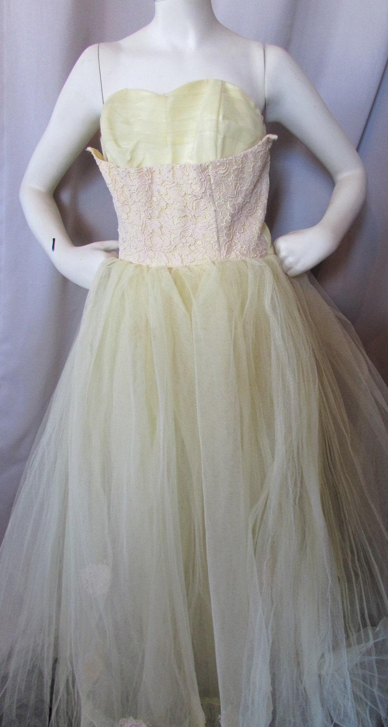 72a716787b7 1950 Prom Dress Vintage Dance Dress Mellow Yellow Lace