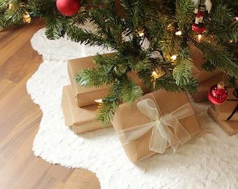 faux fur christmas tree skirt xmas tree decorations snow christmas tree faux fur christmas tree skirt - Christmas Tree Skirts Etsy