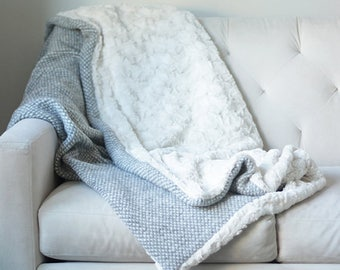 Grey Pebbled Wool Throw | Grey and Cream Blanket | Ivory Bed Throw | Ivory Wool Sofa Blanket {Grey & Ivory Faux Fur Throw}