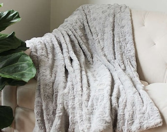 Grey Faux Fur Blanket | Gray Throw | Grey Decorative Sofa Throw | FauxFur  Blanket | Bed Throw {Faux Fur Throw}