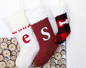 personalized stocking christmas stockings monogram initial stocking festive xmas stocking christmas stocking choose your fabric
