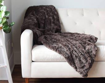 Faux Fur Throw Blanket | Bed Throw | Faux Fur Throw | Sofa Throw | Charcoal Blanket | Soft Throw {Faux Fur Throw}
