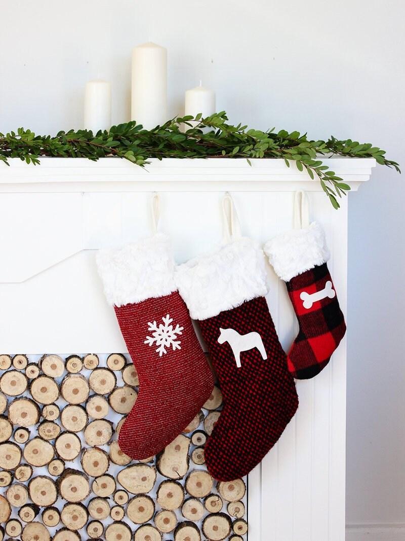 Christmas Stocking Red Xmas Stockings Personalized | Etsy