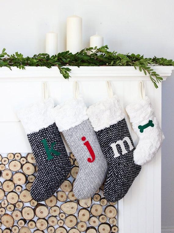 Grey Christmas Stockings Personalised.Grey Christmas Stockings Personalised Stocking Monogrammed Stocking Faux Fur Xmas Stocking
