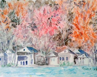 Original watercolor painting, fall, trees, landscape painting